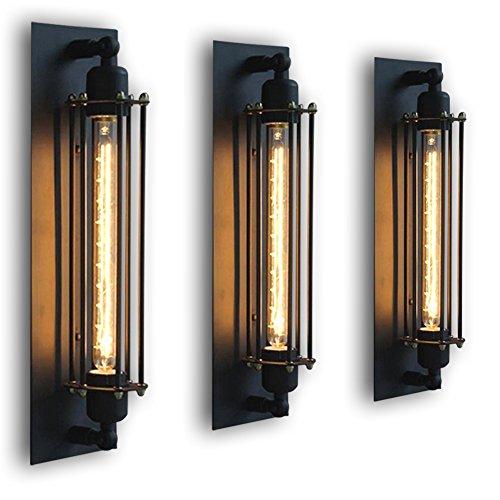 FLTRADE Wandlampen Edison Vintage Retro Metall Cafés Antike Wandleuchter Tube-Käfig Loft Beleuchtung warmweiß mit T300 Leuchtmittel BirneSchwarz