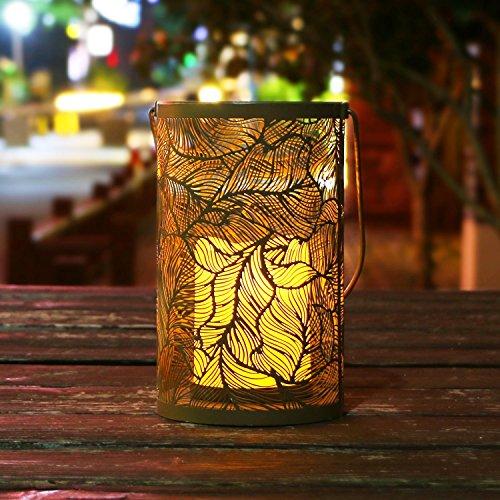 takemeuro dekorativer Kerzenhalter Laterne mit Licht LED Kerze Lichter Metall Tisch Schreibtisch Lampe lantern-feather batteriebetrieben Lichter für Outdoor indoorc