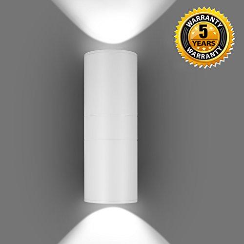 LED Wandleuchte Außen Wandlampe Weiß 6000K Up Down Außenwandleuchte Modern20W Gartenlampe Wasserdicht Wegeleuchte Aluminium5 Jahre Garantie