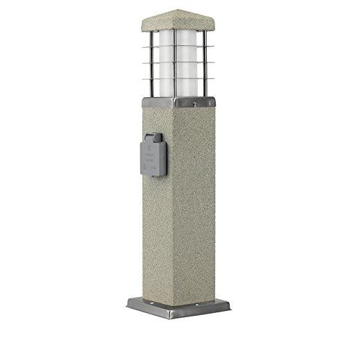 MD-DEAL 1er Set Stehleuchte Steinoptik Außenlampe Wegeleuchte Gartenlampe Lampe eckig 450mm mit Steckdose