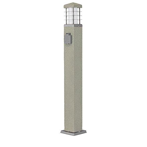MD-DEAL 3er Set Stehleuchte Steinoptik Außenlampe Wegeleuchte Gartenlampe Lampe eckig 800mm mit Steckdose