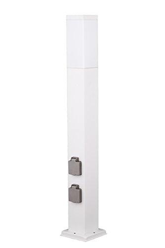 ibv Wegeleuchte Edelstahl mit 2 Steckdosen oder wahlweise mit Dämmerungssensor 80 cm Gartensteckdose Energiesäule weiß ohne DS