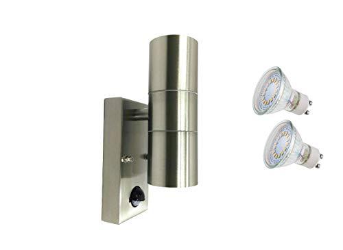 Außen-Wandleuchte Bornholm mit Sensor LED oder Halogen Wandlampe Edelstahl up end down Fassung GU10 Hausbeleuchtung Leuchte hochwertig Einzeln Einzeln mit LED LM