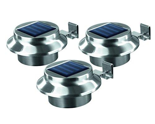 EASYmaxx 03612 Solar-Dachrinnenleuchten  Edelstahl  3er-Set  Außenbeleuchtung  Kabellos  Beleuchtung