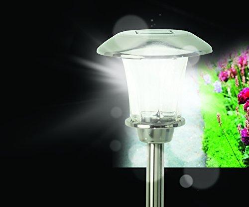 LED Solar Leuchte mit rotieneder LED aus Glas und Edelstahl mit Erdspieß und weißer LED Beleuchtung