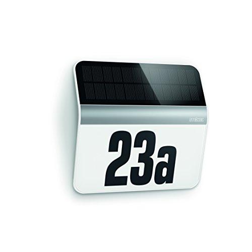 Steinel LED Solar Leuchte XSolar LH-N edelstahl Dämmerungsschalter 1100 mAh LiFe-Akku inkl beleuchtete Hausnummer 227 x 242 x 51 cm Energieklasse A 007140