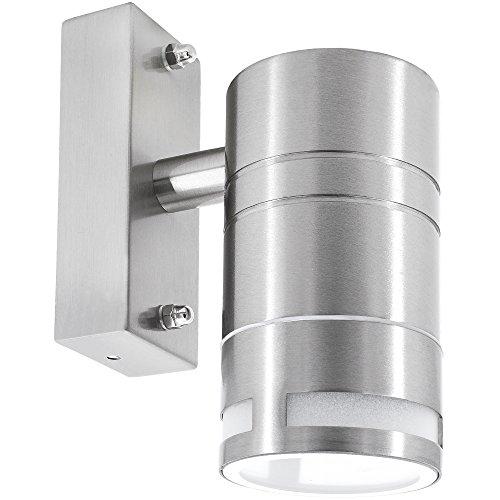 Wandleuchte außen wasserdicht aus Edelstahl mit IP44 Regenschutz 1-Flammig als Downlight für LED oder Halogen GU10 Leuchtmittel