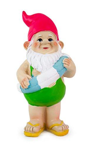 Deko Figur Zwerg Wichtel Paul mit Schwimmring aus Polystein grün rosa blau 20 cm Gartenfigur Gartenzwerg Wichtelfigur für Wohnung Garten