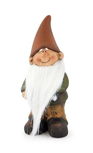Impressionata Deko Figur Zwerg Wichtel mit Langem Bart aus Ton Braun Grün 15 cm Gartenfigur Gartenzwerg Wichtelfigur für Garten