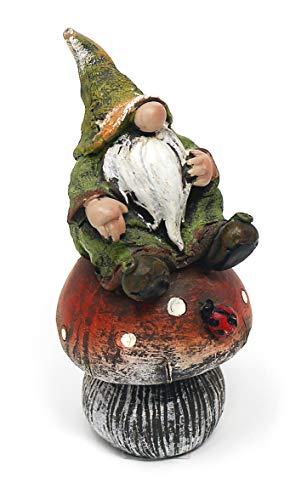 TEMPELWELT Deko Figur Wichtel Zwerg mit Knollnase auf Fliegenpilz aus Polystein grün rot 125 cm groß witzige Gartenfigur Gartenzwerg für den Garten