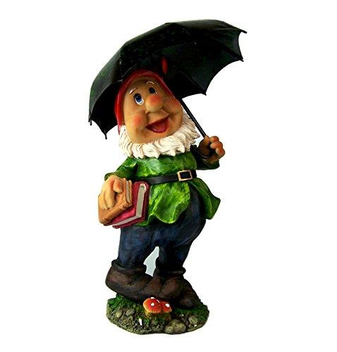 Zwerg mit Regenschirm Polyresin Gartenzwerg 2 Ausführungen 38 cm GartenzwergeF1487 Zwerg mit grüne Jacke