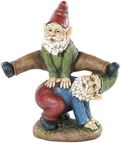 Royal Gardineer Garten-Dekorationen Gartenzwerg-Duo beim Bockspringen handbemalt Figuren Zwerge