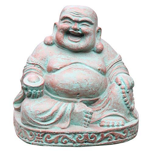 Ciffre Kleiner Happy Buddha Stein Figur 20cm x 20cm 5 Kilo Antik Look Massiv Steinfigur Skulptur Feng Shui Garten Deko Wetterfest Lawa Steingus