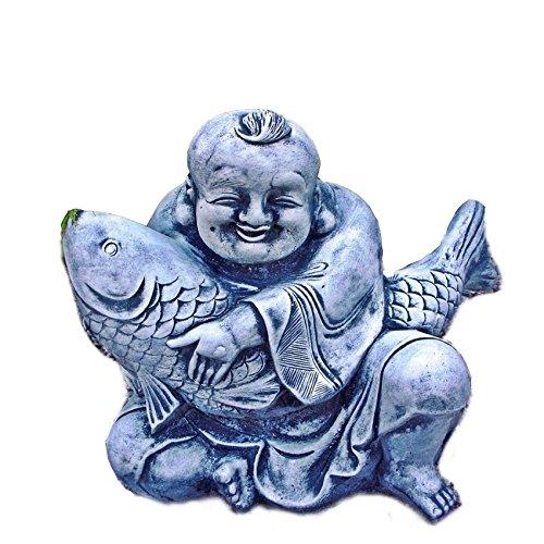 Stein BUDDHA CHINESE mit Koi Fisch Steinfigur Steinguss Frostfrei