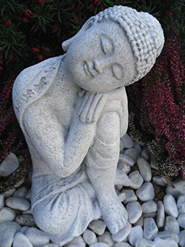 Steinfigur Buddha Gartenfigur Steinguss Antikweiß