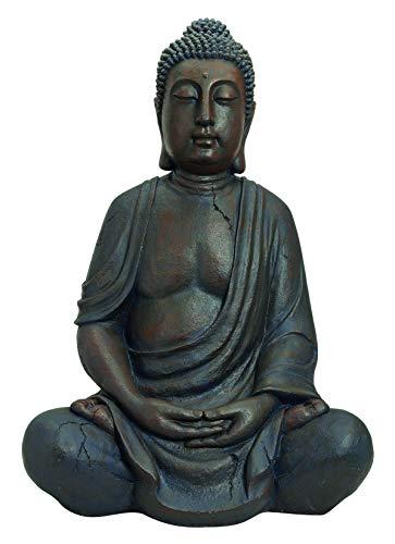 Worldconnection XXL Grosser Buddha 100 cm STEINFIGUR Garten DEKO Figur SKULPTUR Feng Shui SITZEN