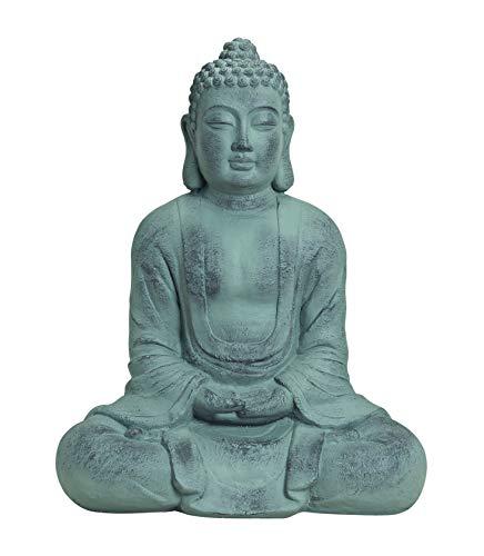 Worldconnection XXXL Großer Buddha 80 cm Steinfigur Garten Deko Figur Skulptur Feng Shui sitzend