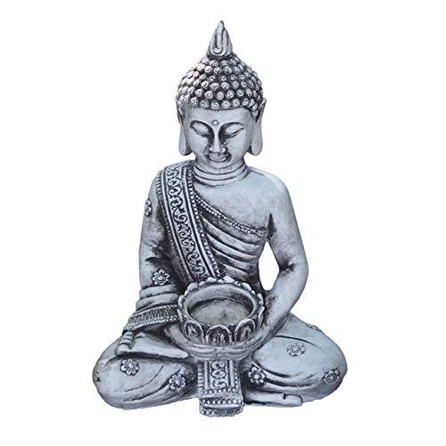 gartendekoparadiesde Massive Steinfigur Stein Thai Buddha klein für Teelicht aus Steinguss frostfest
