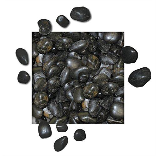 5 kg Polierter Kiesel Glanzkies Flusskiesel Kieselsteine Ziersteine Gartenkies Zierkies schwarz Körnung 2030 mm