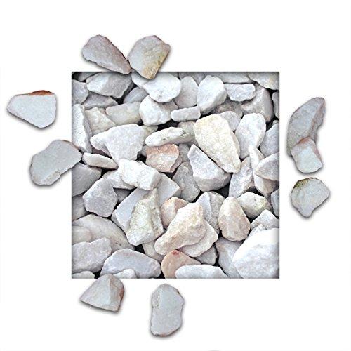 25 kg Marmorsplitt Kristallweiss Ziersplitt Deko Marmor Dekoration Splitt Zierkies Körnung 3040 mm
