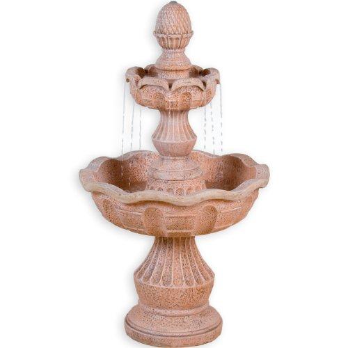 STILISTA Gartenbrunnen Modell METIS Steinoptik 58 x 58 x 102 cm großer Springbrunnen inkl Pumpe