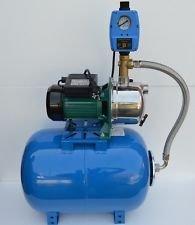 50 Liter Hauswasserwerk Pumpe INOX 1100Watt Fördermenge 3600lh Gartenpumpe mit Trockenlaufschutz und integrierten thermischen Schutzschalter