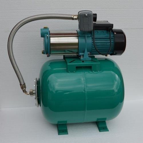 Hauswasserwerk 50Liter  1300Watt Pumpe INOX mit Edelstahlwelle und Schaufelrädern aus Edelstahl Fördermenge 6000lh  Druckschalter  Rückschlagventil integrierter thermischer Motorschutzschalter