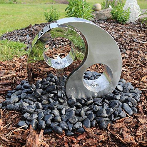 CLGarden Edelstahl Springbrunnen Yin Yang mit LED Beleuchtung Komplett Set
