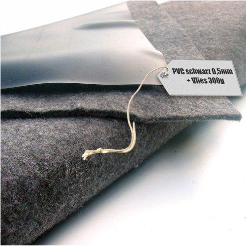 Teichfolie PVC 05mm schwarz in 6m x 4m mit Vlies 300gqm