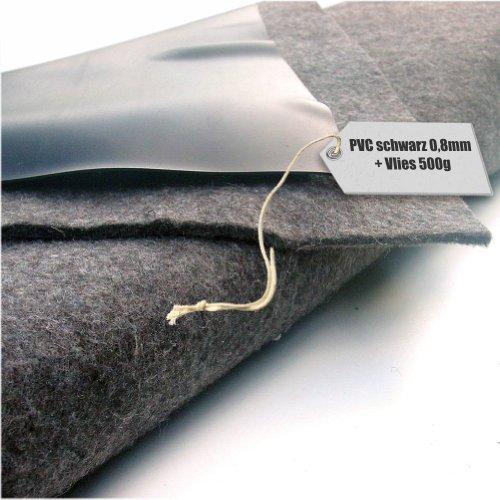 Teichfolie PVC 08mm schwarz in 6m x 10m mit Vlies 500gqm