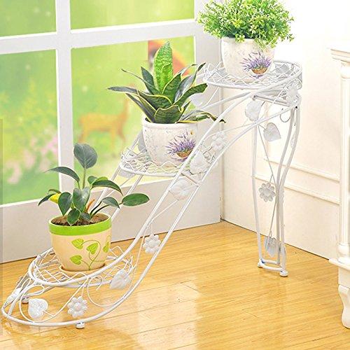 Eisen Blumenständer Kreative Schuhe mit hohen Absätzen mehrstöckige Blumentöpfe Bodenregal Topfpflanzen Garten Balkon Display-Ständer Farbe  White-a