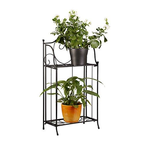 Relaxdays Blumenregal Metall 2-stöckig für Topfpflanzen Balkon-Deko draußen stehend HxBxT 645 x 335 x 18cm schwarz