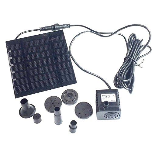 Qiorange Solar-Brunnen Wasserpumpe 180LH 7V 12W Teichpumpe Solarpumpe für Vogel Bad Garten Teich Brunnen 180LH Solar