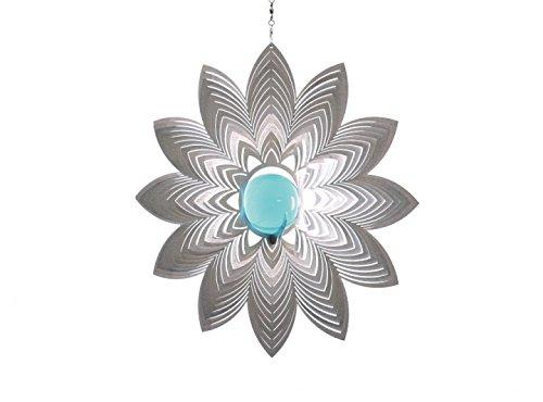 Illumino Edelstahl-Windspiel Azalea mit türkisfarbener 35 mm Glaskugel