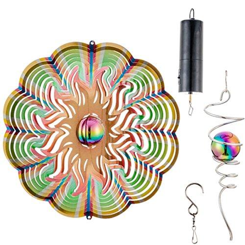 QILICZ Edelstahl Windspiel Ø30cm 3D farbig Hängen Sonne Wind Spinner verdrehender Dekor im Freien Oder Innen mit Glasperle  Crystal Twister  Windspiele Batteriemotor Garten Wohnzimmer Balkon