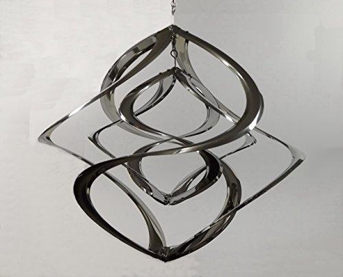 Windspiel doppel Hurrikan Metall Edelstahl Windrad Mobile Klangspiel Deko Figur