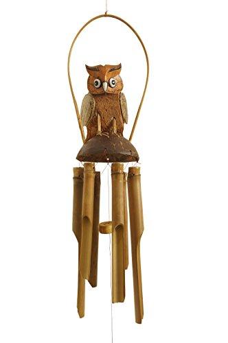 Windspiel Eule 65cm aus Bambus und Kokosnuss - handgefertigte Klangspiele und Glockenspiele mit Bambusrohren aus Bali zur Dekoration für Garten und Zimmer