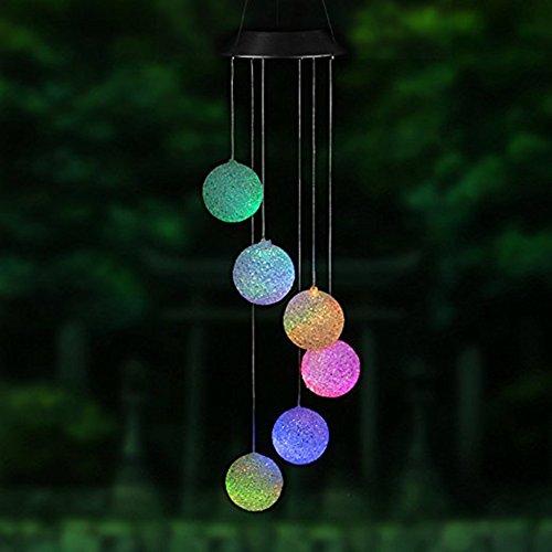 PROKTH Solarleuchte WindspielSolar LED Licht wechselt Farbe Mobile Windspiel im Freien Hängendes Wasserdicht für Hause Party Nacht Garten Dekoration