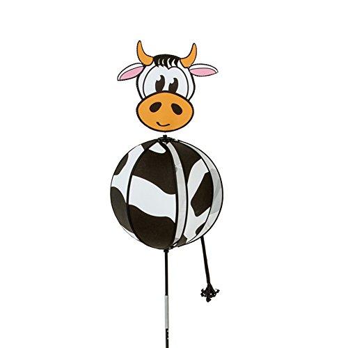 HQ Windspiration 100814 - Spinning Ball Cow UV-beständiges und wetterfestes Windspiel - Höhe 110 cm Ø 26 cm inkl Standstab inkl Bodenanker