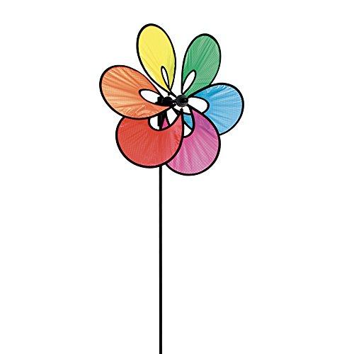 HQ Windspiration 100838 - Paradise Flower Rainbow UV-beständiges und wetterfestes Windspiel - Höhe 82 cm Tiefe 15 cm Ø 35 cm inkl Standstab und Bodenanker