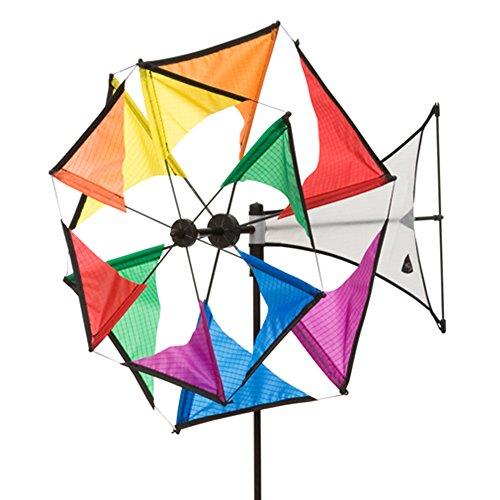 HQ Windspiration 100965 - Windmill Mini Duett Rainbow UV-beständiges und wetterfestes Windspiel - Höhe 102 cm Tiefe 49 cm  Rad-Ø 42 cm inkl Standstab und Bodenanker