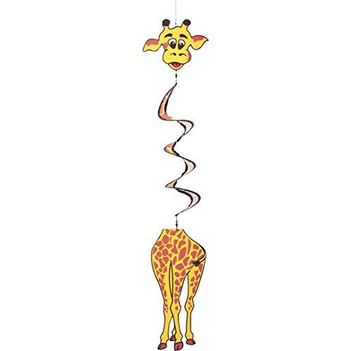 HQ Windspiration 109312 - Swinging Twist Giraffe UV-beständiges und wetterfestes Windspiel - Länge 115 cm Breite 16 cm Spirale-Ø 10 cm inkl Aufhängung