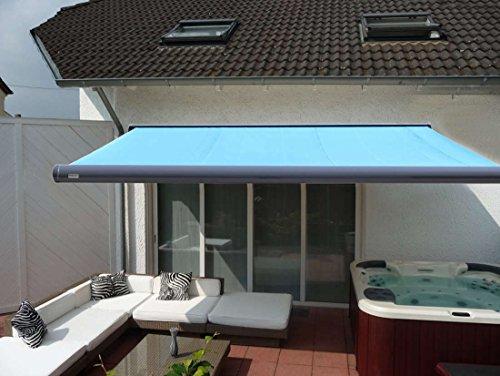 Prime Tech Elektrische Kassettenmarkise  Gelenkarm-Markise 400 x 300 cm Gehäuse anthrazit-grau  Tuch hell-blau  492