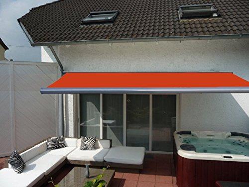 Prime Tech Elektrische Kassettenmarkise  Gelenkarm-Markise 500 x 300 cm  Gehäuse anthrazit-grau  Tuch orange - rot  580