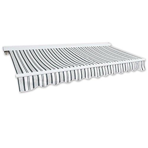 Jawoll Kassetten-Markise 35 x 25 m grau-weiß Profilfarbe Weiß Sonnenschutz Alu Markise Schattenspender Sonnensegel Hülsenmarkise Gelenkarm-Markise