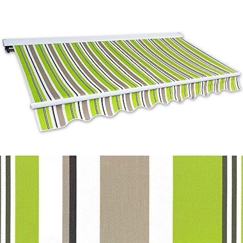 Jawoll Kassetten-Markise 5 x 3 m grün-braun Profilfarbe Weiß Sonnenschutz Alu Markise Schattenspender Sonnensegel Hülsenmarkise Gelenkarm-Markise