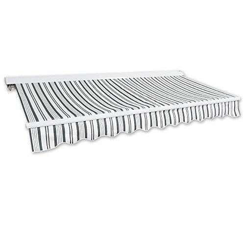 Jawoll Kassetten-Markise 5 x 3 m grau-weiß Profilfarbe Weiß Sonnenschutz Alu Markise Schattenspender Sonnensegel Hülsenmarkise Gelenkarm-Markise
