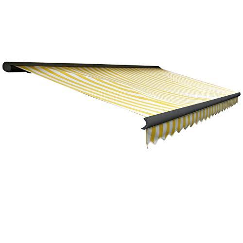 Mendler Elektrische Kassetten-Markise T122 Vollkassette Volant 4x3m ~ Polyester GelbWeiß anthrazit