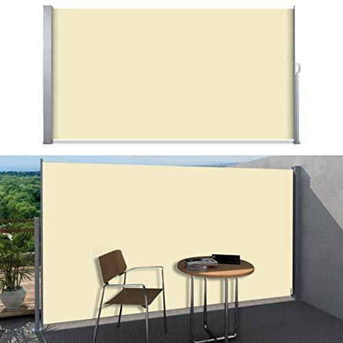 SVITA Seitenmarkise Kassetten-Rollo Sichtschutz Sonnenschutz Seitenrollo für Balkon Terrasse Garten in SchwarzGrau Beige 160 x 300 cm 180 x 300 cm 200 x 300 cm 180 x 300 cm Beige