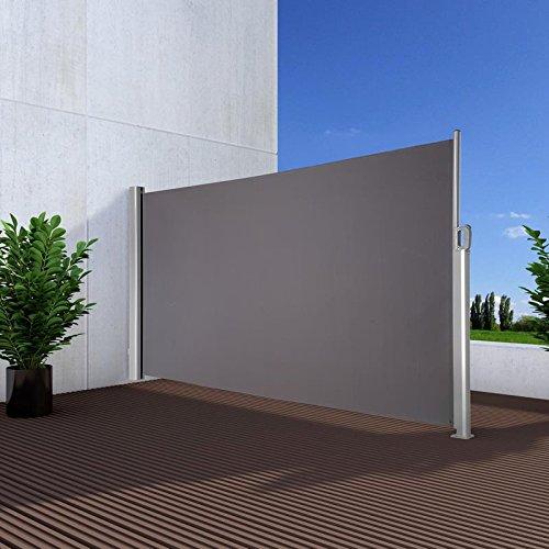 Noor Seitenmarkise Exklusiv 160x350 cm Anthrazit Sichtschutz Terrasse Balkon Sonnenschutz Windschutz Seitenwandmarkise